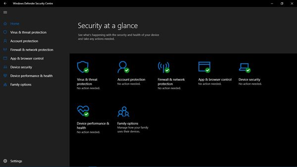 Windows Defender Security Centre