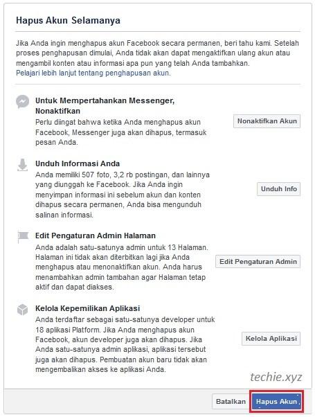 cara menghapus akun facebook permanen klik pada Hapus Akun