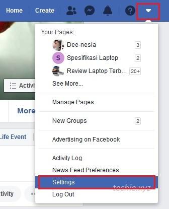 cara menghapus akun facebook permanen klik pada segitiga di kanan atas, lalu Setting atau Pengaturan