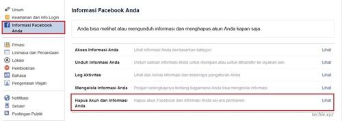 klik pada Informasi Facebook Anda lalu klik pada lihat pada bagian Hapus Akun dan Informasi Anda