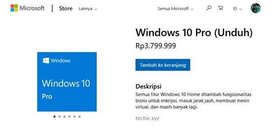 Harga Windows 10 Pro