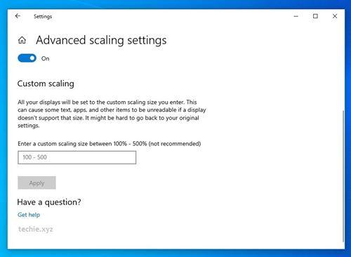 Windows 10 Custom Scalling
