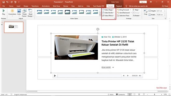 Cara merekam layar dengan PowerPoint - lakukan editing secukupnya